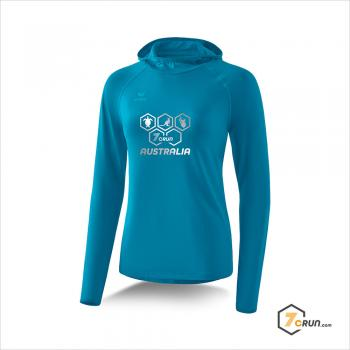 Longsleeve mit Kapuze - DAMEN - AUSTRALIA collection - oriental blue