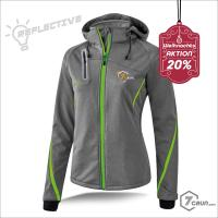 Jacke aus flexiblem Softshell-Material - REFLECTIVE - TRAILRunning collection - grey/green gecko